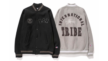 "6150613da0c7d Stussy x Champion Japan 2014 Fall Winter WINDSTOPPER Reverse Weave ""I.S.T.""  Varsity Jacket"