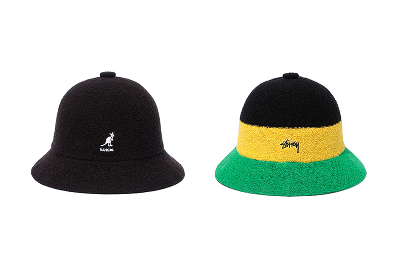 Fresh off a collab with Tokyo-based retailer Kinetics, Kangol has linked up with Stussy to introduce two more renditions of its iconic Bermuda casual. Available in both black and a rasta-esque combo of black, yellow, and green, the caps feature 40% acrylic/40% modacrylic/20% nylon construction and come complete with Stussy logo embroidered in white opposite Kangol's signature kangaroo. Retailing for $90 USD, the hats are available now at Stussy stockists and the streetwear label's own web store.