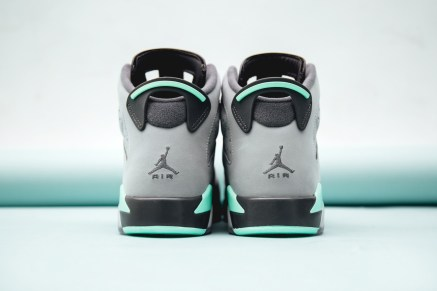 """The """"Green Glow"""" colorway proved to be quite a hit on the Air Jordan 4 silhouette already, so it only made sense for the Jordan Brand to apply the refreshing color scheme to another one of its models. This latest drop sees the Air Jordan 6 rendered in the striking combination of cement and dark grey hues with touches of mint throughout, though unfortunately this colorway will only be available in Grade School sizes starting. For those looking to pick up a pair regardless, you can purchase them at select accounts including Social Status starting April 30."""