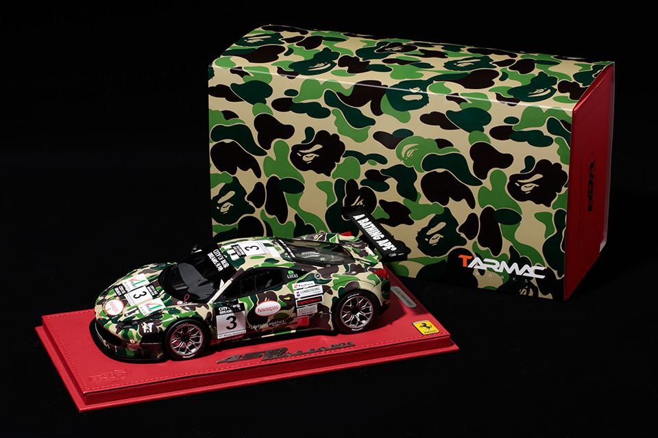 BAPE Teams Up With Tarmac Works & BBR Models on Model Ferrari 458 GT3