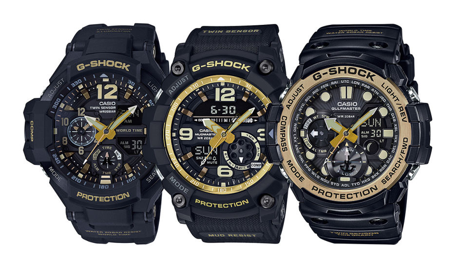 G-SHOCK BLACK & GOLD MASTER OF G TWIN SENSOR SERIES