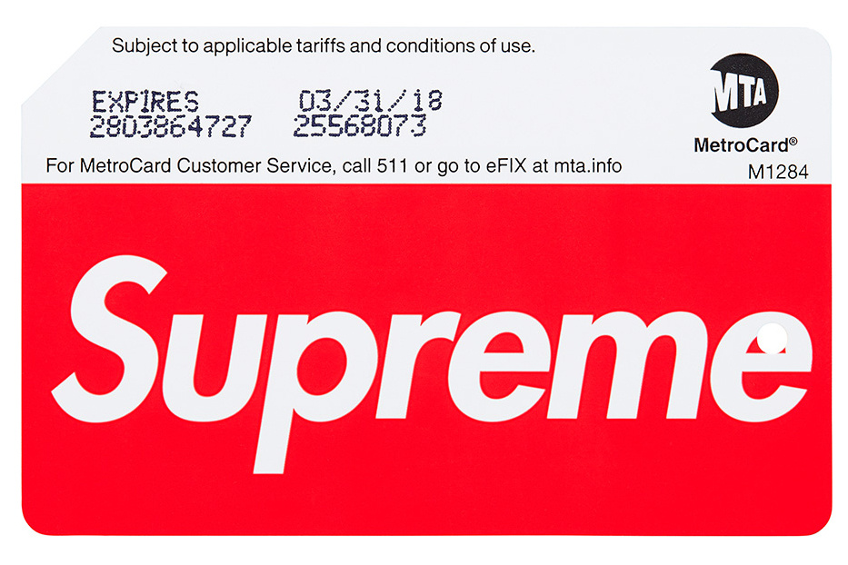 NYC MTA x Supreme MetroCards