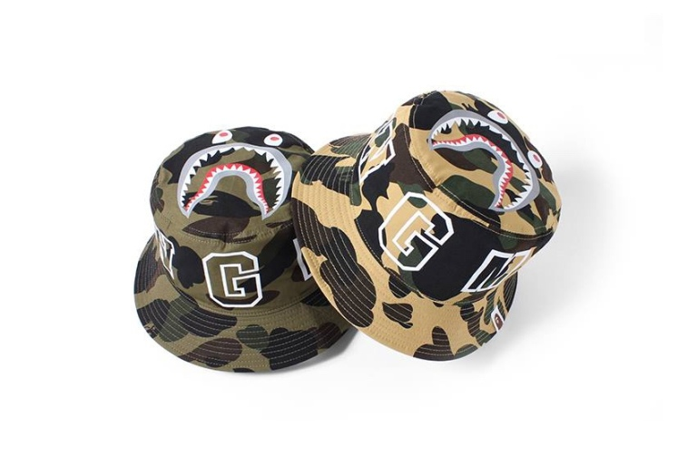 "BAPE's ""1ST CAMO SHARK"" Bucket Hats"